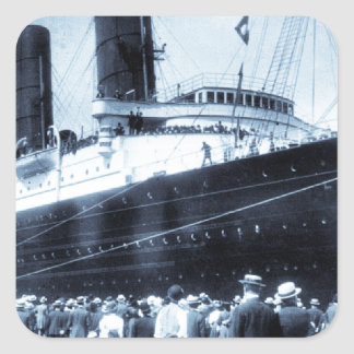 Lusitania Docked in New York City Blue Tone Square Sticker
