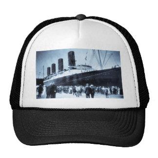 Lusitania Docked in New York City Blue Tone Trucker Hat