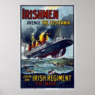 Lusitania que se hunde, poster del ejército WW1
