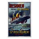 Lusitania que se hunde, poster del ejército WW1 Póster