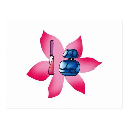 Lustre rosado del labio y un perfume azul postales