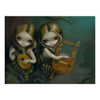 Lute and Lyre gothic fairy nymph Art Print