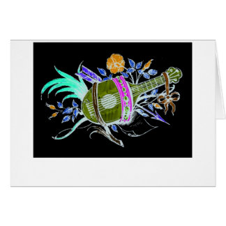 Lute and plants inversion greeting cards