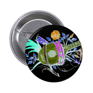 Lute and plants inversion pinback button