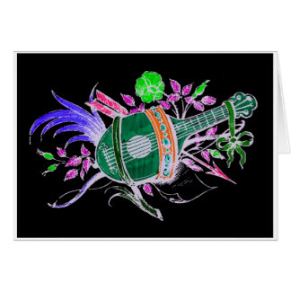 Lute and Plants, Pink inversion Card