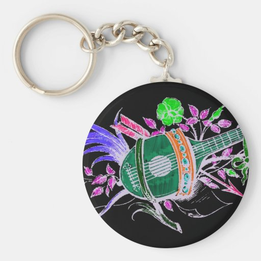 Lute and Plants, Pink inversion Basic Round Button Keychain