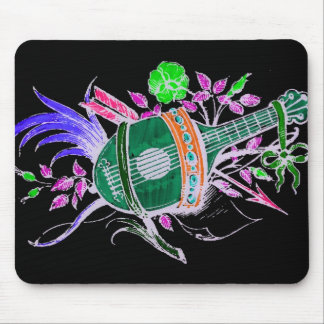 Lute and Plants, Pink inversion Mousepads
