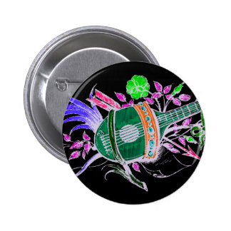 Lute and Plants, Pink inversion Pinback Button