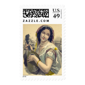Lute Player 1850 Postage