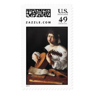 Lute Player Postage Stamps