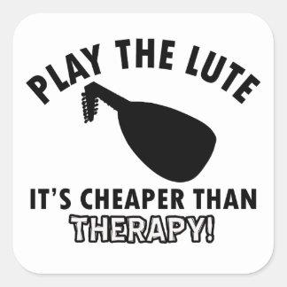 lute therapy design square sticker
