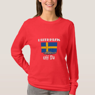 Lutefisk Uff Da Funny Swedish Flag with Fish T-Shirt
