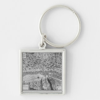 Lutetia or the first plan of Paris Silver-Colored Square Keychain