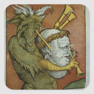 Luther as the Devil's Bagpipes, c.1535 Square Sticker