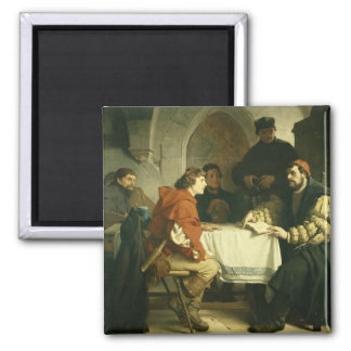 Luther at the 'Schwarzen Baeren' in Jena, 1873 2 Inch Square Magnet