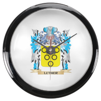 Luther Coat of Arms - Family Crest Fish Tank Clock