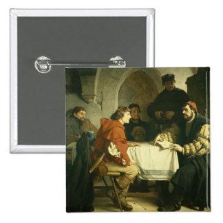"""Luther en el """"Schwarzen Baeren"""" en Jena, 1873 Pin Cuadrada 5 Cm"""