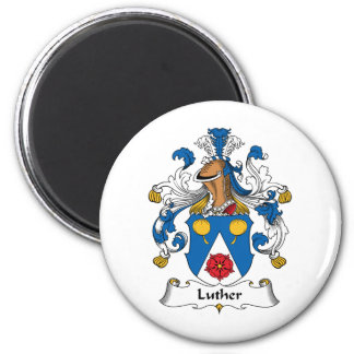 Luther Family Crest 2 Inch Round Magnet