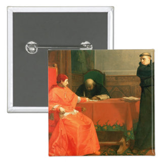 Luther in front of Cardinal Cajetan 2 Inch Square Button