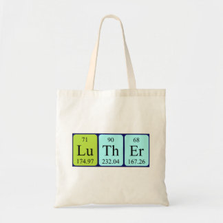 Luther periodic table name tote bag