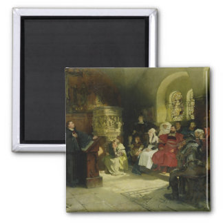 Luther Preaches using his Bible Translation 2 Inch Square Magnet