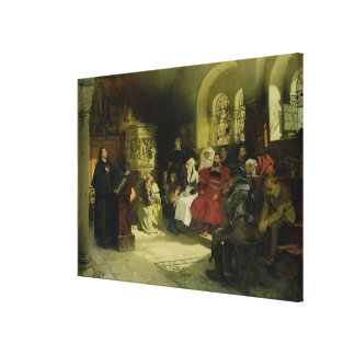 Luther Preaches using his Bible Translation Canvas Print