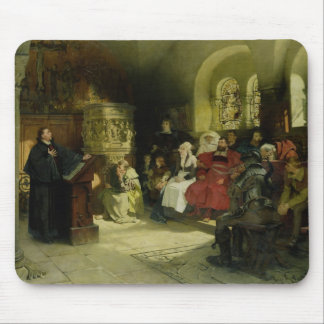 Luther Preaches using his Bible Translation Mouse Pad
