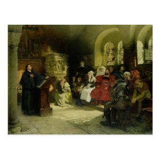 Luther Preaches using his Bible Translation Postcard