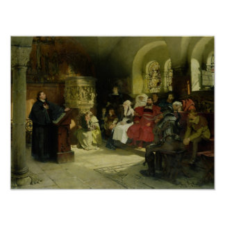 Luther Preaches using his Bible Translation Poster
