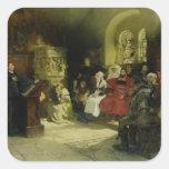 Luther predica usando su traducción de la biblia pegatina cuadrada