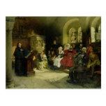 Luther predica usando su traducción de la biblia tarjetas postales