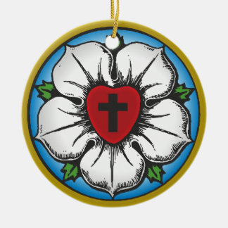 luther rose ceramic ornament