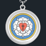 """Luther's Rose Silver Plated Necklace<br><div class=""""desc"""">Luther's Rose is the design that symbolizes confessional Lutheranism.</div>"""