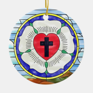 Luther Seal Stained Glass Window Double-Sided Ceramic Round Christmas Ornament