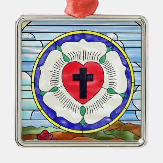 Luther Seal Stained Glass Window Square Metal Christmas Ornament