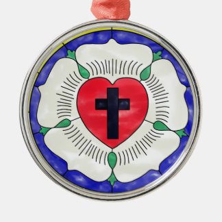 Luther Seal Stained Glass Window Round Metal Christmas Ornament