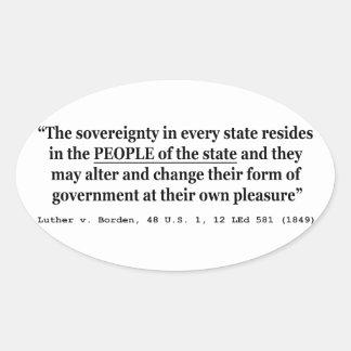 Luther v Borden 48 los E.E.U.U. 1 12 L Sovereign Pegatina Ovalada