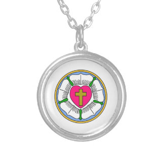 Lutheran Rose Silver Plated Necklace