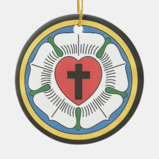 Lutheran Seal Double-Sided Ceramic Round Christmas Ornament