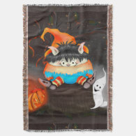 LUTIN ALIEN HALLOWEEN CARTOON Throw Blanket