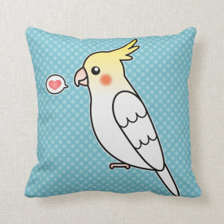 Lutino Cartoon Cockatiel Parrot Bird Love Throw Pillow