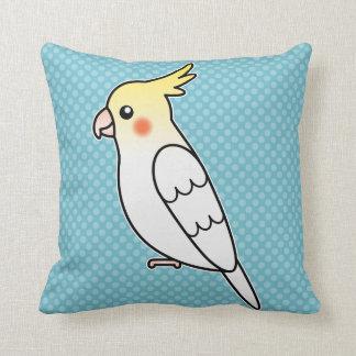 Lutino Cartoon Cockatiel Parrot Bird Throw Pillow