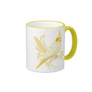 Lutino Cockatiel Ringer Coffee Mug