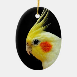 Lutino Cockatiel Double-Sided Oval Ceramic Christmas Ornament