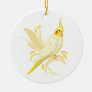 Lutino Cockatiel Double-Sided Ceramic Round Christmas Ornament