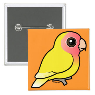 Lutino Melocotón-hizo frente al Lovebird Pin Cuadrado