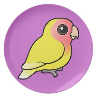 Lutino Melocotón-hizo frente al Lovebird Plato Para Fiesta