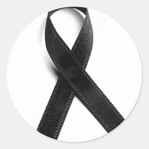 Luto - cinta negra pegatina redonda | Zazzle