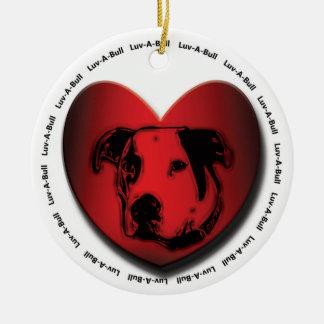 Luv-A-Bull American Bulldog Pit Bull Heart Ceramic Ornament