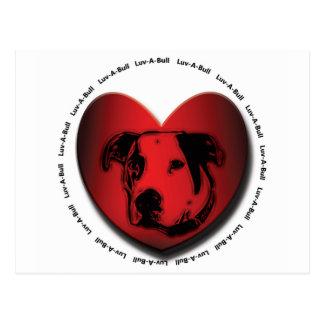 Luv-A-Bull American Bulldog Pit Bull Heart Postcard